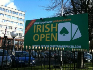 16ft x 8ft Corriboard sign for the Paddypowerpoker.com Irish Open.  Design by Paddy Power.
