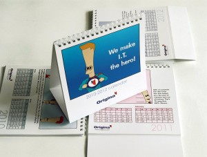 Wiro-bound desk calendars for Origina IT Solutions.  Designed by Bloom.