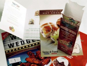 A variety of point-of-sale materials for Cuisine de France.  Design by Cuisine de France.