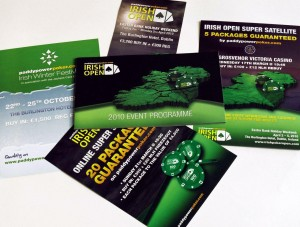 A variety of leaflets and brochures for the Paddypowerpoker.com Irish Open.  Design by Paddy Power.