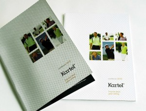 The Kartel 2010 catalogue which included a tricky emboss on the cover giving the cover a similar feel to the dimples on a golf ball.  Design by Creative AD