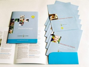 Radiotherapy information pack for the Galway Clinic comprising a six pager A5 pocket folder and a variety of two, four and six page inserts.  Entire production of this pack managed by Simon Hederman.