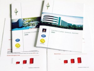 Galway Clinic Annual Reports for 2008 and 2009.  Cover designs by Hederman GMS