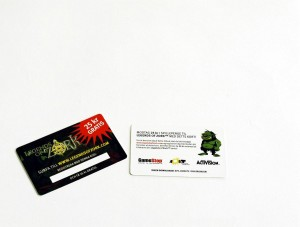 This project for Jolt Online Gaming, involved the production of 154,000 credit card sized voucher cards, which were printed in three different languages on 450gsm board, with a gloss varnish, die-cut with round corners and a unique code printed on each card.  The voucher cards were then attached to an A6 size printed wallet and then packed ready for shipping to Game Stop stores in Scandinavia. Design by iorum.ie